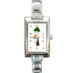 Cute Snowman Rectangle Italian Charm Watch by Valentinaart