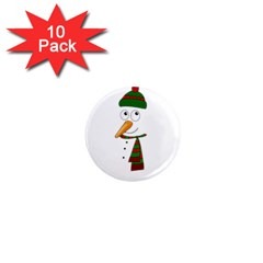 Cute Snowman 1  Mini Magnet (10 Pack)  by Valentinaart