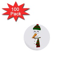 Cute Snowman 1  Mini Buttons (100 Pack)  by Valentinaart
