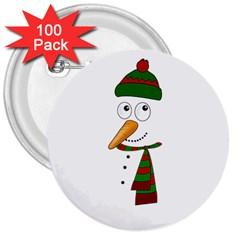 Cute Snowman 3  Buttons (100 Pack)  by Valentinaart