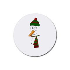 Cute Snowman Rubber Round Coaster (4 Pack)  by Valentinaart