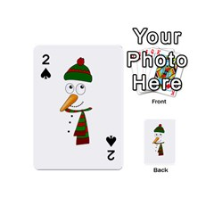 Cute Snowman Playing Cards 54 (mini)  by Valentinaart