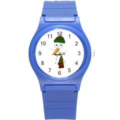 Cute Snowman Round Plastic Sport Watch (s) by Valentinaart