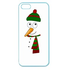 Cute Snowman Apple Seamless Iphone 5 Case (color) by Valentinaart