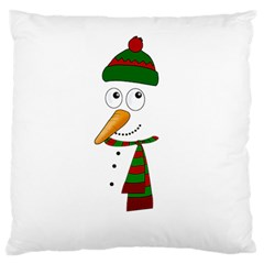 Cute Snowman Large Flano Cushion Case (two Sides) by Valentinaart