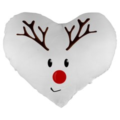 Cute Reindeer  Large 19  Premium Heart Shape Cushions by Valentinaart