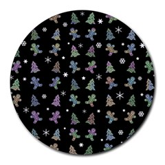 Ginger Cookies Christmas Pattern Round Mousepads by Valentinaart