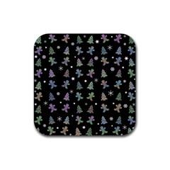 Ginger Cookies Christmas Pattern Rubber Coaster (square)  by Valentinaart