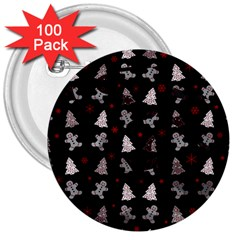 Ginger Cookies Christmas Pattern 3  Buttons (100 Pack)  by Valentinaart