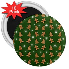 Ginger Cookies Christmas Pattern 3  Magnets (10 Pack)  by Valentinaart