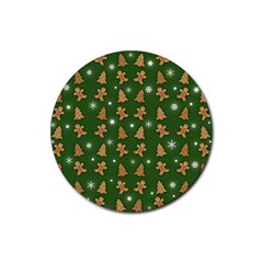 Ginger Cookies Christmas Pattern Rubber Coaster (round)  by Valentinaart