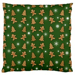 Ginger Cookies Christmas Pattern Large Cushion Case (two Sides) by Valentinaart