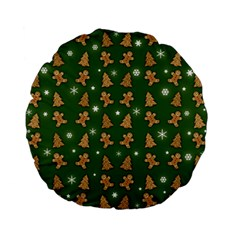 Ginger Cookies Christmas Pattern Standard 15  Premium Flano Round Cushions by Valentinaart