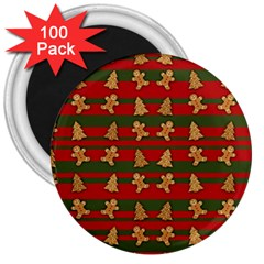 Ginger Cookies Christmas Pattern 3  Magnets (100 Pack) by Valentinaart