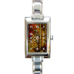 Noble Steampunk Design, Clocks And Gears With Floral Elements Rectangle Italian Charm Watch