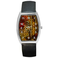 Noble Steampunk Design, Clocks And Gears With Floral Elements Barrel Style Metal Watch by FantasyWorld7