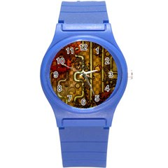 Noble Steampunk Design, Clocks And Gears With Floral Elements Round Plastic Sport Watch (s) by FantasyWorld7