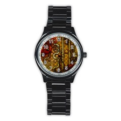 Noble Steampunk Design, Clocks And Gears With Floral Elements Stainless Steel Round Watch by FantasyWorld7