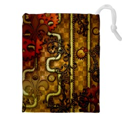 Noble Steampunk Design, Clocks And Gears With Floral Elements Drawstring Pouches (xxl) by FantasyWorld7