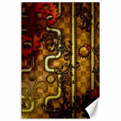 Noble Steampunk Design, Clocks And Gears With Floral Elements Canvas 24  X 36  by FantasyWorld7