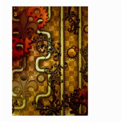 Noble Steampunk Design, Clocks And Gears With Floral Elements Small Garden Flag (two Sides) by FantasyWorld7
