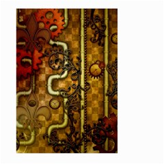 Noble Steampunk Design, Clocks And Gears With Floral Elements Large Garden Flag (two Sides) by FantasyWorld7