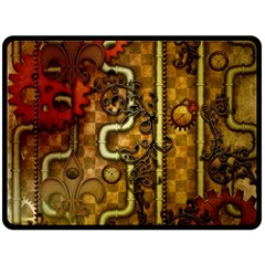 Noble Steampunk Design, Clocks And Gears With Floral Elements Double Sided Fleece Blanket (large)  by FantasyWorld7