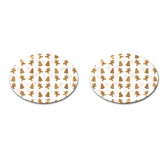 Ginger Cookies Christmas Pattern Cufflinks (oval)