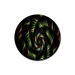 Fractal Christmas Colors Christmas Rubber Round Coaster (4 Pack)  by Onesevenart