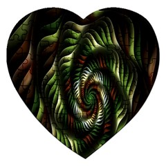 Fractal Christmas Colors Christmas Jigsaw Puzzle (heart) by Onesevenart