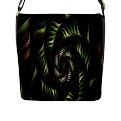 Fractal Christmas Colors Christmas Flap Messenger Bag (l)  by Onesevenart
