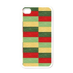 Fabric Coarse Texture Rough Red Apple Iphone 4 Case (white) by Onesevenart