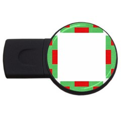 Fabric Christmas Red White Green Usb Flash Drive Round (2 Gb) by Onesevenart
