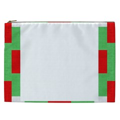 Fabric Christmas Red White Green Cosmetic Bag (xxl)  by Onesevenart