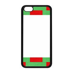 Fabric Christmas Red White Green Apple Iphone 5c Seamless Case (black) by Onesevenart