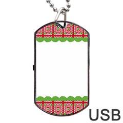 Frame Pattern Christmas Frame Dog Tag Usb Flash (one Side) by Onesevenart