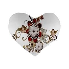 Gems Gemstones Jewelry Jewel Standard 16  Premium Flano Heart Shape Cushions by Onesevenart