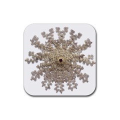 Gold Golden Gems Gemstones Ruby Rubber Square Coaster (4 Pack)  by Onesevenart