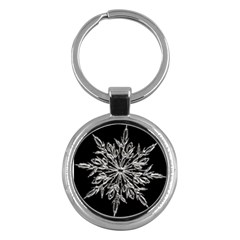 Ice Crystal Ice Form Frost Fabric Key Chains (round)  by Onesevenart