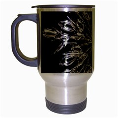 Ice Crystal Ice Form Frost Fabric Travel Mug (silver Gray) by Onesevenart