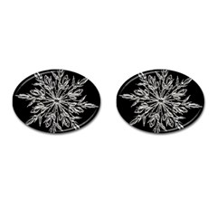 Ice Crystal Ice Form Frost Fabric Cufflinks (oval) by Onesevenart