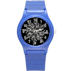Ice Crystal Ice Form Frost Fabric Round Plastic Sport Watch (s) by Onesevenart