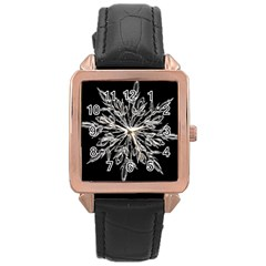 Ice Crystal Ice Form Frost Fabric Rose Gold Leather Watch  by Onesevenart
