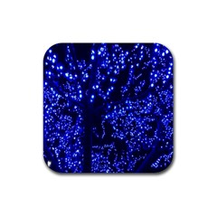 Lights Blue Tree Night Glow Rubber Square Coaster (4 Pack)  by Onesevenart