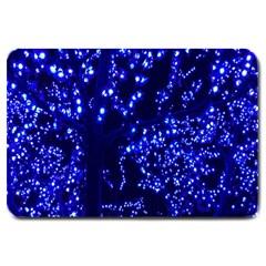 Lights Blue Tree Night Glow Large Doormat  by Onesevenart
