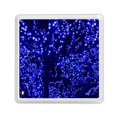 Lights Blue Tree Night Glow Memory Card Reader (square)  by Onesevenart