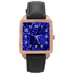 Lights Blue Tree Night Glow Rose Gold Leather Watch  by Onesevenart