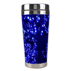 Lights Blue Tree Night Glow Stainless Steel Travel Tumblers by Onesevenart