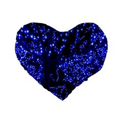 Lights Blue Tree Night Glow Standard 16  Premium Flano Heart Shape Cushions by Onesevenart