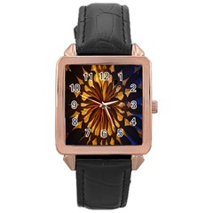 Light Star Lighting Lamp Rose Gold Leather Watch  by Onesevenart